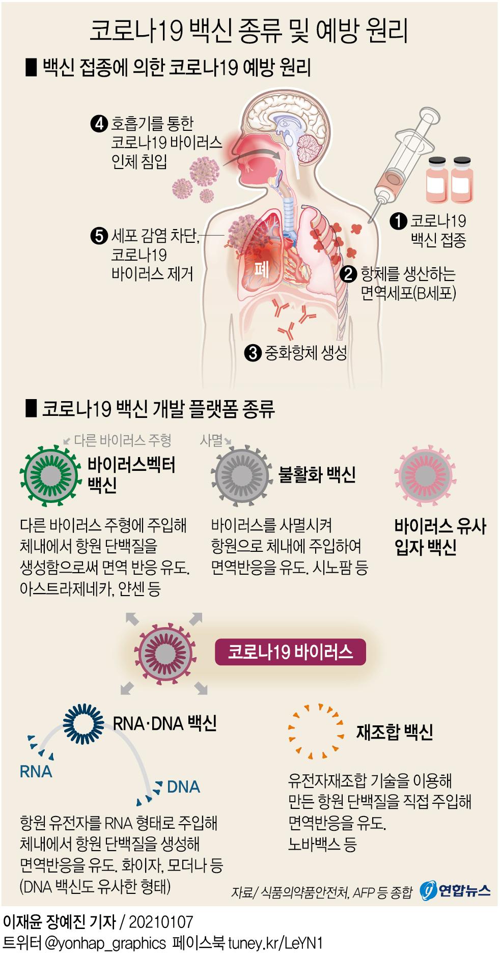 [그래픽] 코로나19 백신 종류 및 예방 원리