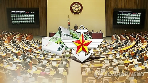 This undated graphic image shows the symbol of South Korea's defense ministry and a pile of bank notes against the background of the National Assembly. (Yonhap)