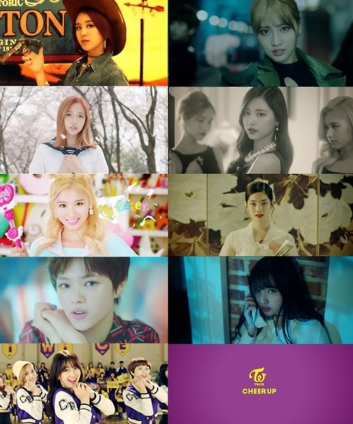"Stills from South Korean girl group TWICE's music video of its second EP ""Cheer Up."" (Yonhap)"