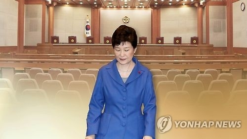 This graphic, provided by Yonhap News TV, shows President Park Geun-hye and the main room of the Constitutional Court in Seoul. (Yonhap)