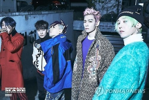 This image provided by YG Entertainment shows BIGBANG, a boy band managed by the agency. (Yonhap)