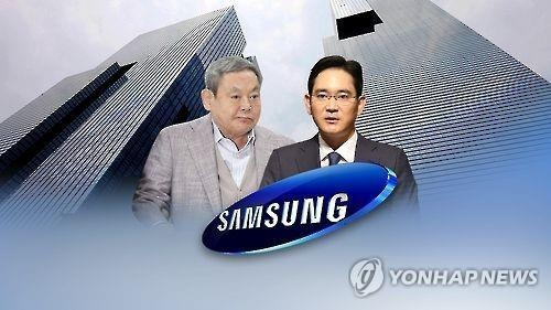 This undated file photo shows Samsung Electronics Chairman Lee Kun-hee (L) and his only son Jay-yong against the background of the electronic giant's headquarters building in southern Seoul. (Yonhap)