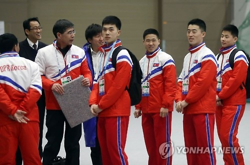 (LEAD) N. Korean athletes welcomed at Asian Winter Games