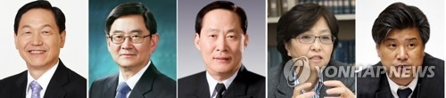 This combined image shows photos of new minister-nominees named in the latest personnel appointments announced by the presidential office Cheong Wa Dae on June 11, 2017. They are (from L) Education Minister-nominee Kim Sang-kon, Justice Minister-nominee Ahn Kyong-whan, Defense Miniser-nominee Song Young-moo, Environment Minister-nominee Kim Eun-kyung and Labor Minister-nominee Cho Dae-yop. (Yonhap)