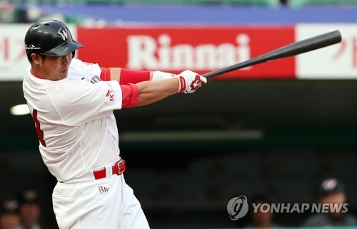In this file photo taken on June 15, 2017, Choi Jeong of the SK Wyverns launches a three-run home run against the Hanwha Eagles in the teams' Korea Baseball Organization game atIncheon SK Happy Dream Park. (Yonhap)