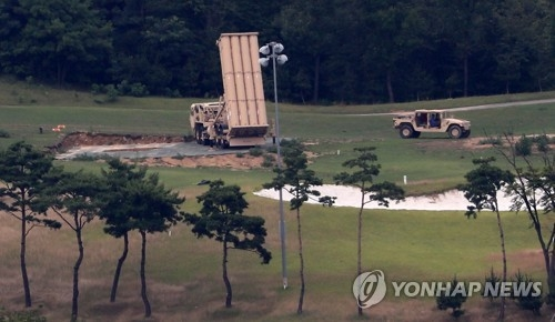 A THAAD interceptor launcher is installed at a U.S. military base in Seongju, North Gyeongsang Province, in this file photo. (Yonhap)