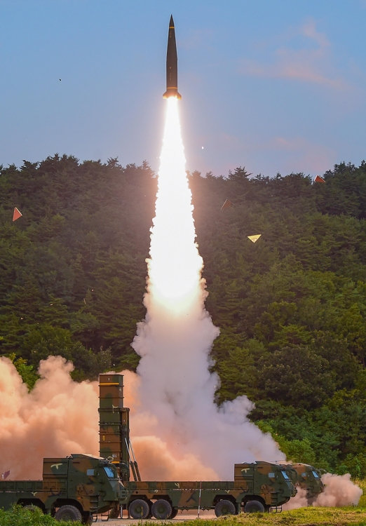A Hyunmoo ballistic missile is launched during the South Korean military's live-fire training along the east coast on Sept. 4, 2017 in this photo provided by the Joint Chiefs of Staff. (Yonhap)
