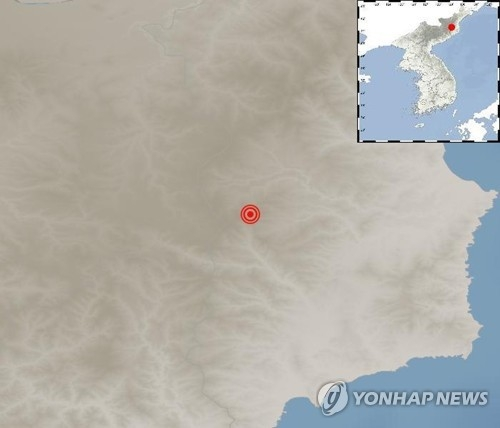 This photo, provided by the Korea Meteorological Administration, shows the location of a natural earthquake detected in North Korea on Dec. 2, 2017. The location is close to the Punggye-ri nuclear site where the country conducted its sixth nuclear test on Sept. 3. (Yonhap)