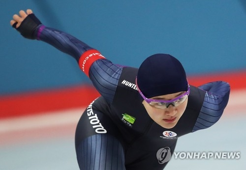 South Korean speed skater Park Seung-hi competes in the women's 500 meters at the National Winter Sports Festival at Taereung International Skating Rink in Seoul on Jan. 12, 2018. (Yonhap)
