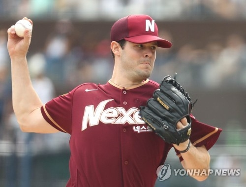 In this file photo taken Sept. 17, 2017, Jake Brigham of the Nexen Heroes throws a pitch against the NC Dinos during a Korea Baseball Organization regular season game at Masan Stadium in Changwon, 400 kilometers southeast of Seoul. (Yonhap)