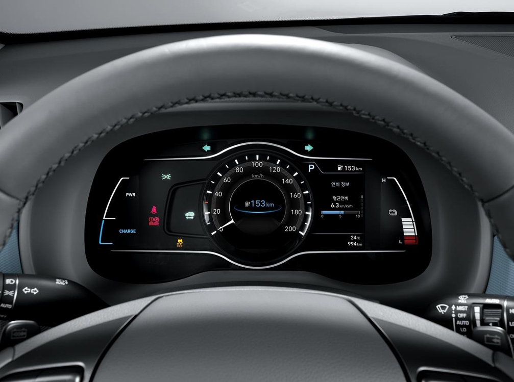 This photo by Hyundai Mobis shows its 7-inch digital instrument cluster installed in the electric version of the Kona subcompact SUV. (Yonhap)