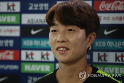 South Korea women's national football team defender Kim Hye-ri speaks to reporters at the National Football Center in Paju, north of Seoul, ahead of training for the Asian Games on Aug. 9, 2018. (Yonhap)