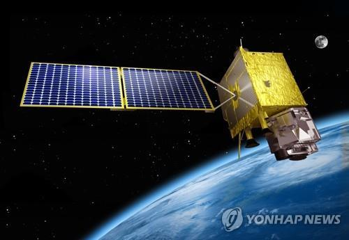 This photo provided by the Korea Aerospace Research Institute (KARI) shows a rendering of South Korea's indigenous geostationary weather satellite, the Chollian-2A, in Earth's orbit. (Yonhap)