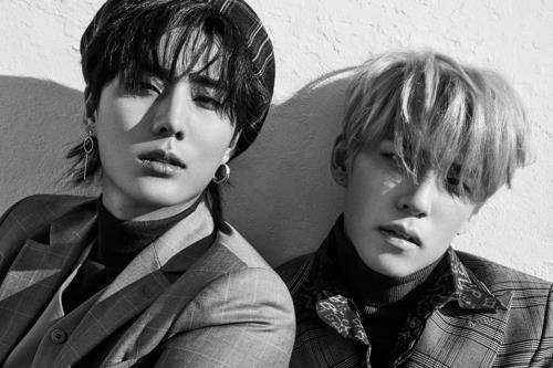 This image of DAY6 members -- Young K (L) and Wonpil -- was provided by JYP Entertainment. (Yonhap)