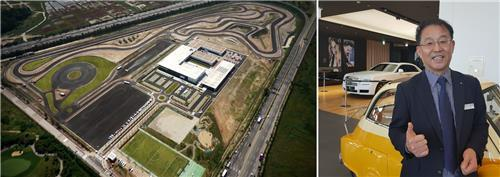 These photos, provided by BMW, show an aerial view of BMW Driving Center (L) and Jang Sung-taek, senior director of the center, photographed on Dec. 12, 2018, as he explains the center's racetrack and vehicles that are available for public driving. (Yonhap)