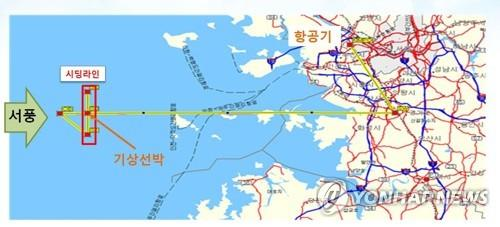This image provided by the Korea Meteorological Administration shows a planned route in the Yellow Sea for an artificial rain experiment slated for Jan. 25, 2019. (Yonhap)