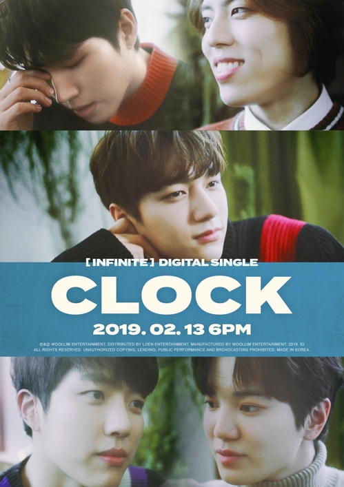 "These teaser images for INFINITE's upcoming digital single ""CLOCK"" were provided by Woollim Entertainment. (Yonhap)"