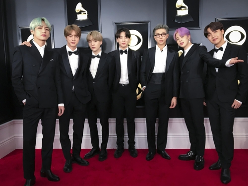 This photo of BTS ahead of the 61st Grammy Awards on Feb. 10, 2019 (U.S. time), was provided by Big Hit Entertainment. (Yonhap)