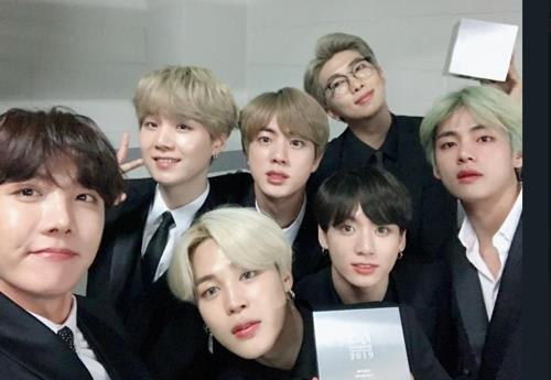 This photo of BTS at the 16th Korean Music Awards, held on Feb. 26, 2019, was captured from the band's Twitter account. (Yonhap)