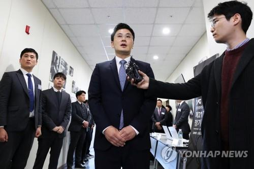 Yang Min-suk, chief executive of YG Entertainment, speaks to reporters before attending his company's regular shareholder meeting in Seoul on March 22, 2019. (Yonhap)