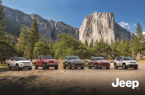 This FCA file photo shows its Jeep SUV lineup (from L to R) -- the Compass, Wrangler, Grand Cherokee, Cherokee and Renegade. (Yonhap)