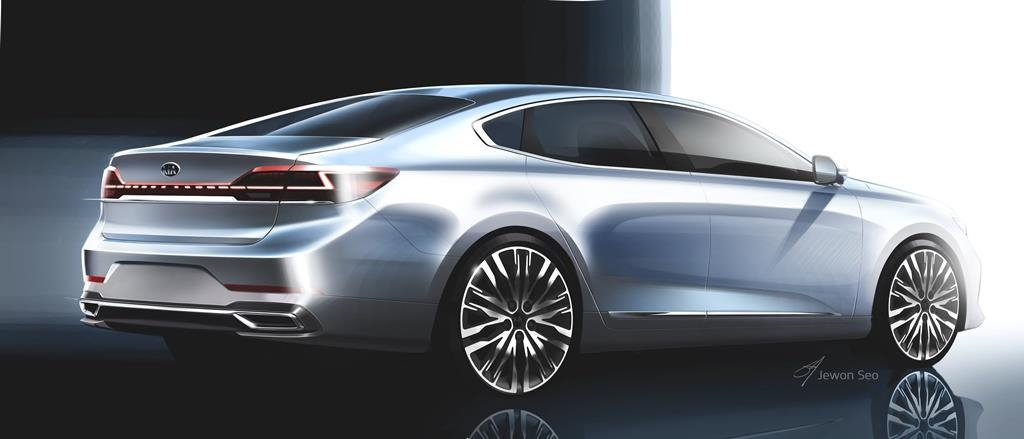 This rendering provided by Kia on June 3, 2019, shows the upgraded K7. (Yonhap)