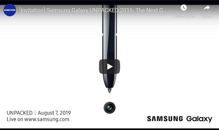 Samsung Electronics Co.'s video invitation for a Galaxy Note 10 Unpacked event in New York on Aug. 7, 2019, is shown in this image provided by the company. (PHOTO NOT FOR SALE) (Yonhap)