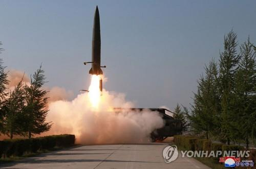 A suspected short-range missile is launched from Kusong, North Pyongan Province, in northwestern North Korea, on May 9, 2019, in this photo released by the Korean Central News Agency. (For Use Only in the Republic of Korea. No Redistribution) (Yonhap)