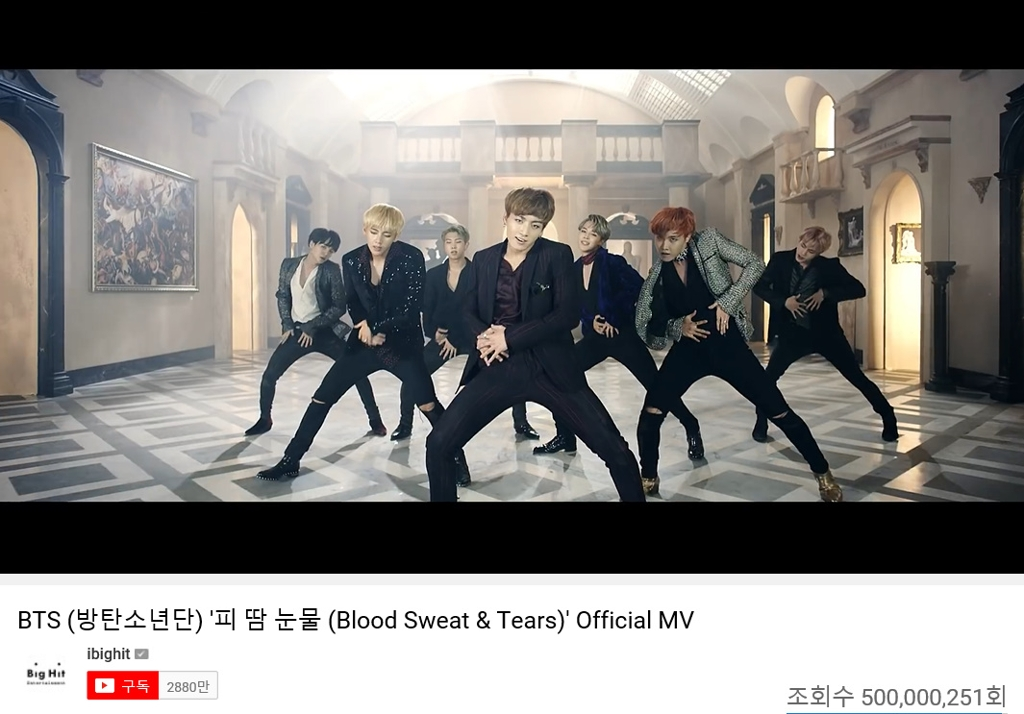 "This image captured from YouTube and provided by BTS' management agency, Big Hit Entertainment, shows the video for the band's song ""Blood Sweat & Tears."" (PHOTO NOT FOR SALE) (Yonhap)"