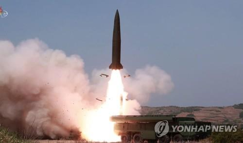 In this image, captured from the Korean Central TV Broadcasting Station, on May 5, 2019, a weapon of similar appearance to Russia's tactical ballistic missile, the Iskander, is fired the previous day. (For Use Only in the Republic of Korea. No Redistribution) (Yonhap)
