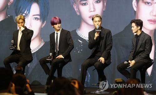This image shows SuperM during a media event on Oct. 2, 2019. (Yonhap)