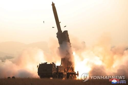 "A projectile mounted on a super-large multiple rocket launcher is launched from North Korea's western region toward the East Sea on Oct. 31, 2019, in this photo released by the North's official Korean Central News Agency (KCNA) the next day. According to KCNA, the North successfully tested a super-large multiple rocket launcher, verifying the ""perfection"" of the weapons system. (For Use Only in the Republic of Korea. No Redistribution) (Yonhap)"