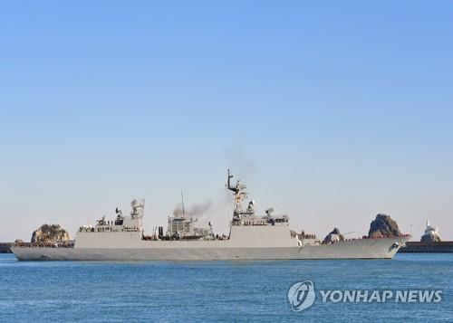 This photo, provided by the Navy, shows the 4,400-ton destroyer Wang Geon, carrying the 300-strong 31st contingent of the Cheonghae Unit, departing a naval base in Busan, 450 kilometers southeast of Seoul, on Dec. 27, 2019. (PHOTO NOT FOR SALE) (Yonhap)