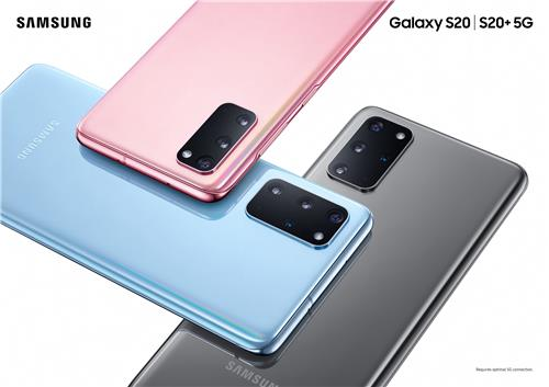 This photo provided by Samsung Electronics Co. on Feb. 11, 2020, shows the company's Galaxy S20 and S20 Plus smartphones. (PHOTO NOT FOR SALE) (Yonhap)