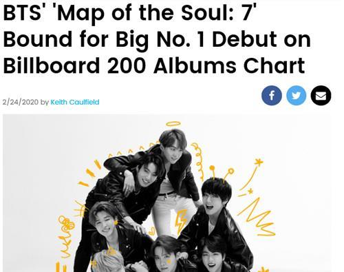 (LEAD) BTS' 'Map of the Soul: 7' on way to No. 1 on Billboard 200