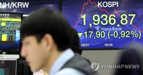 An electric board showing South Korea's key stock index is shown at a trading room of Hana Bank in Seoul on March 10. 2020. (Yonhap)