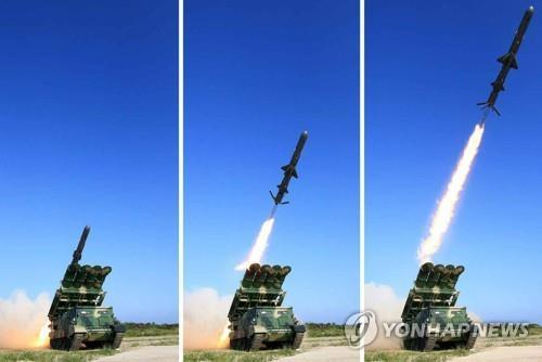 These photos published by North Korea's Rodong Sinmun newspaper on June 9, 2017, show the country's launch of a new surface-to-ship cruise missile. (For Use Only in the Republic of Korea. No Redistribution) (Yonhap)