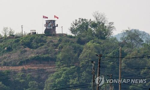 This EPA photo shows a North Koren frontier post at the inter-Korean border near the city of Paju, Gyeonggi Province, on May 3, 2020. (Yonhap)