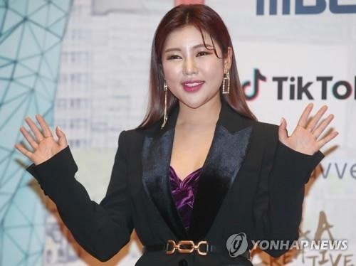 The file photo taken Dec. 30, 2019, shows trot singer Song Ga-in at an awards ceremony at MBC TV headquarters in Seoul. (Yonhap)