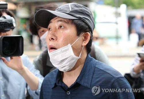 Park Sang-hak, the head of Fighters for a Free North Korea, speaks to reporters on June 25, 2020 in Seoul. (Yonhap)