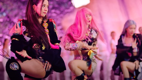 "This screenshot from BLACKPINK's ""How You Like That"" music video shows the K-pop quartet dressed in modified hanbok. (PHOTO NOT FOR SALE) (Yonhap)"