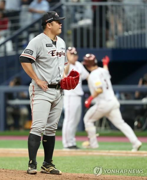 In this file photo from July 5, 2017, Song Chang-sik of the Hanwha Eagles reacts to a two-run home run by Kim Min-sung of the Nexen Heroes during a Korea Baseball Organization regular season game at Gocheok Sky Dome in Seoul. (Yonhap)