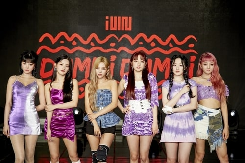 """This photo provided by Cube Entertainment on Aug. 3, 2020, shows K-pop girl group (G)I-dle posing for photos at a media showcase in Seoul for its new single album """"Dumdi Dumdi."""" (PHOTO NOT FOR SALE) (Yonhap)"""