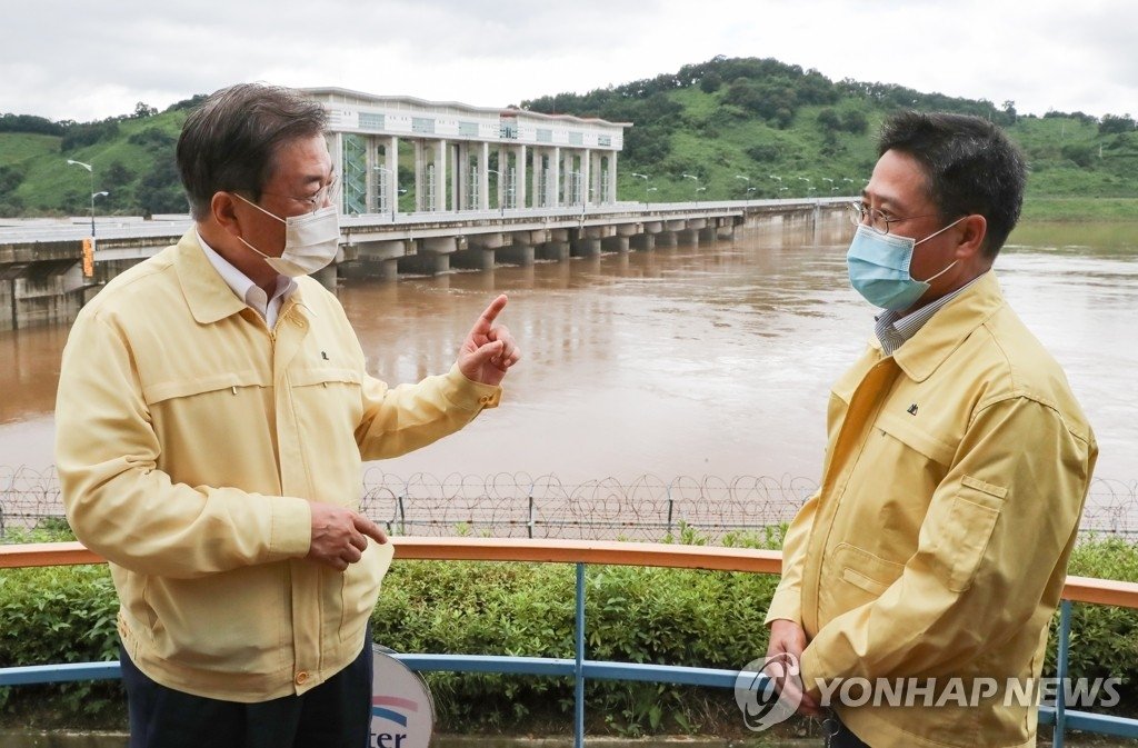 President Moon express regret over N.K. not informing Seoul of dam discharge