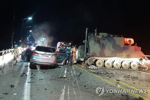 This file photo provided by the Gyeonggi Northern Fire Department shows the scene of a crash between an SUV and a U.S. military vehicle on Aug. 30, 2020, in Pocheon, South Korea. (PHOTO NOT FOR SALE) (Yonhap)