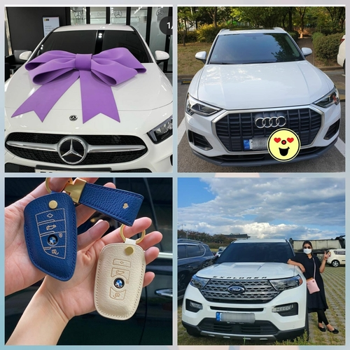 "This combined image captured from Instagram on Oct. 8, 2020, shows young customers' ""proof shots"" of their new foreign vehicles. (PHOTO NOT FOR SALE) (Yonhap)"