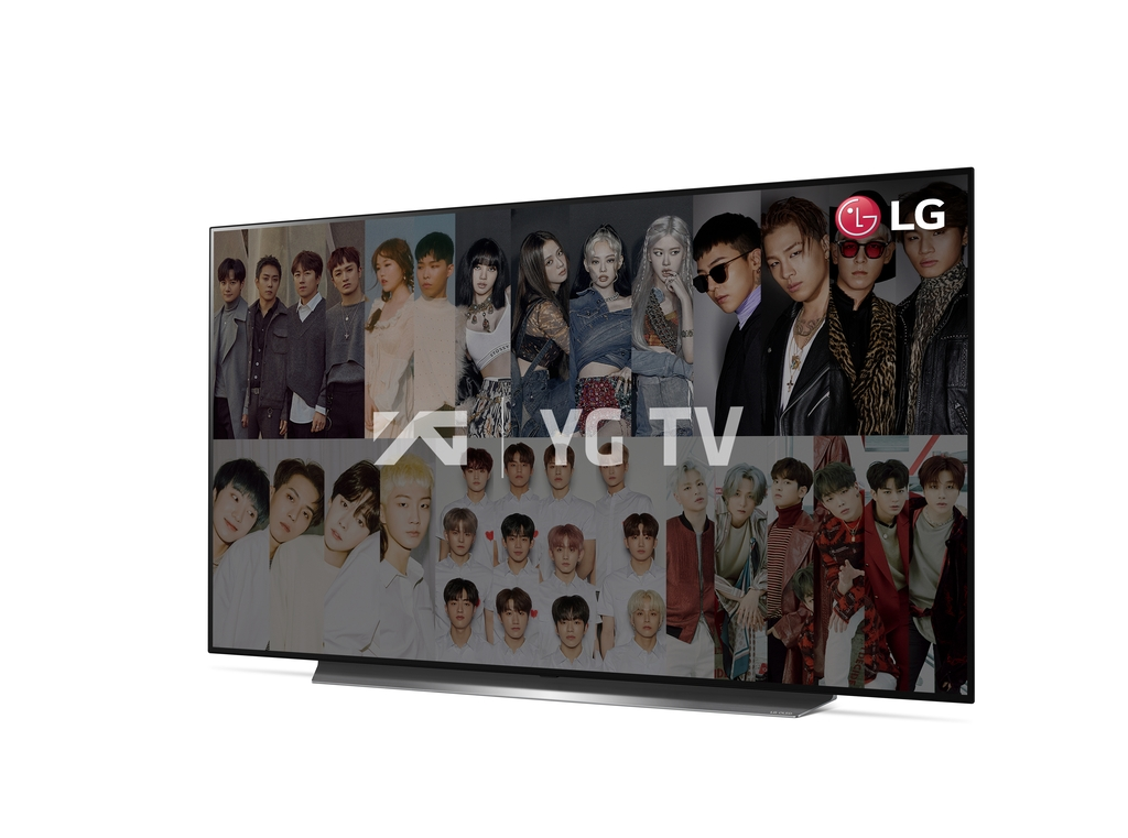 This photo provided by LG Electronics Inc. shows the company's OLED TV showing the YG TV channel of its streaming service. (PHOTO NOT FOR SALE) (Yonhap)