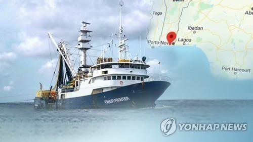 A computer-generated image of a fishing vessel in western Africa provided by Yonhap News TV (PHOTO NOR FOR SALE) (Yonhap)
