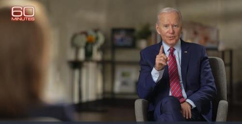 "The captured image from the website of U.S. television network CBS shows Democratic presidential candidate Joe Biden speaking in an interview with CBS News' ""60 Minutes"" that was broadcast on Oct. 25, 2020. (PHOTO NOT FOR SALE) (Yonhap)"