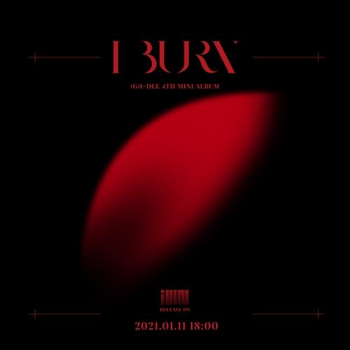 "This image, provided by Cube Entertainment, shows the album cover for (G)I-DLE's upcoming EP ""I burn"" set for release on Jan. 11, 2021. (PHOTO NOT FOR SALE)(Yonhap)"